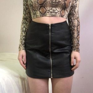 Forever 21 Zip-Up Faux Leather Skirt